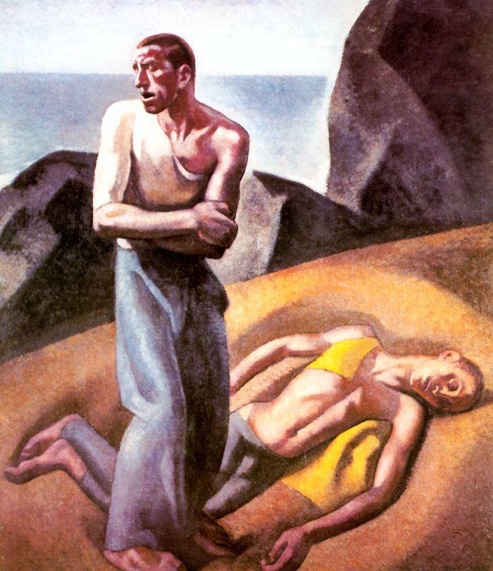 """""""Náufragos"""". Óleo. Museo Nacional de Arte Reina Sofía. Madrid. Obra de Aurelio Arteta."""
