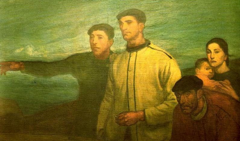 """Fragmento del cuadro """"Pescadores - La Galerna"""". Óleo de Aurelio Arteta. Museo de Bellas Artes. Bilbao."""