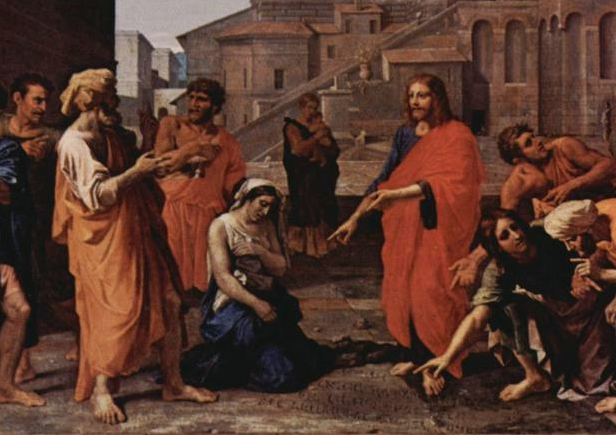 Cristo y la mujer adúltera Nicolas Poussin