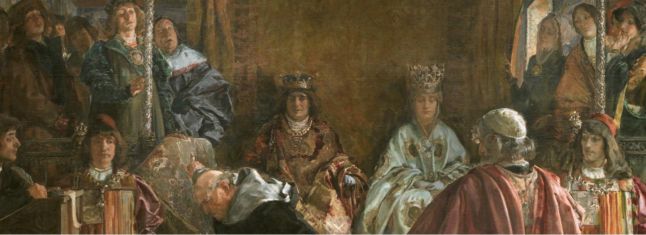 """Detalle del cuadro """"Expulsión de los judíos de España en 1492"""". Emilio Sala, 1889. Óleo sobre lienzo, 313 x 281 cm. Museo del Prado (Madrid)."""