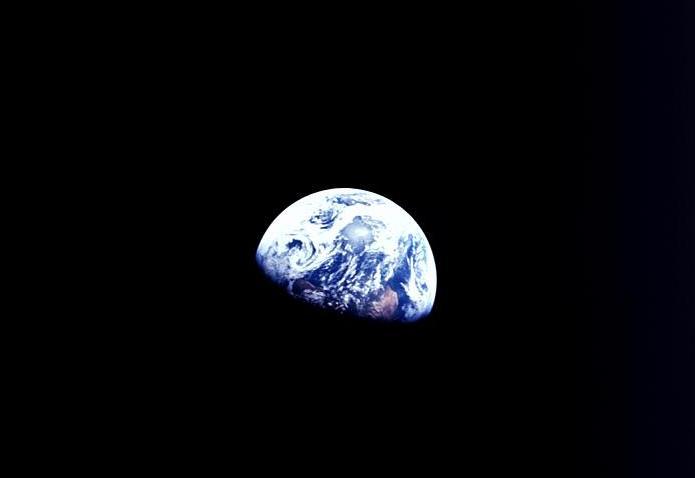La Tierra vista desde la Luna fotografiada por la tripulación del Apollo 8. Foto; NASA
