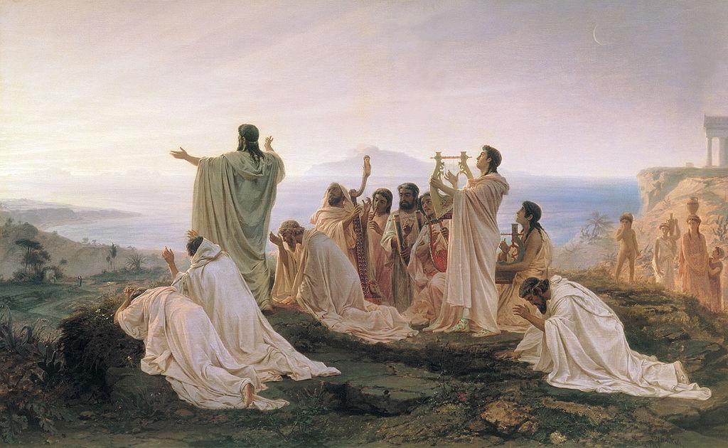 Grupo de pitagóricos celebrando la salida del sol. Himno al sol naciente, oleo de Fyodor Bronnikov 1827-1902.